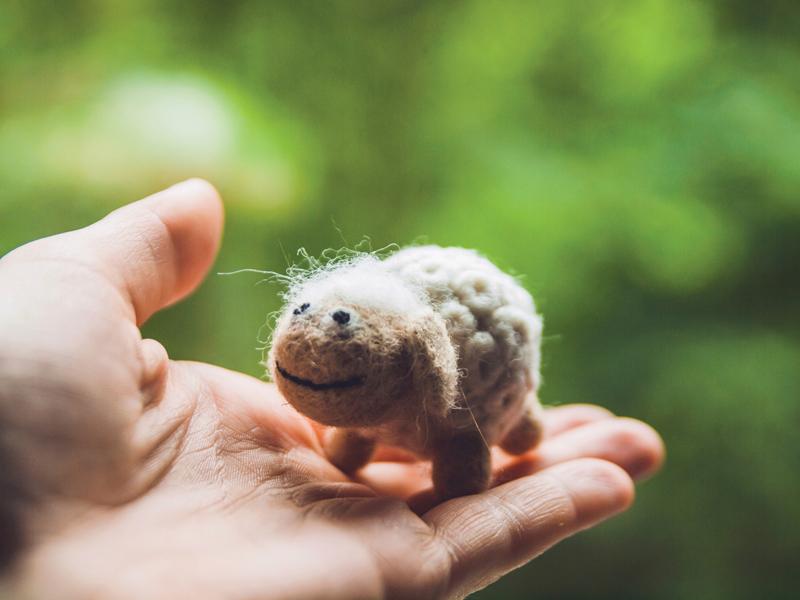 Miniature Needle Felted Sheep, Wool Handmade Toy