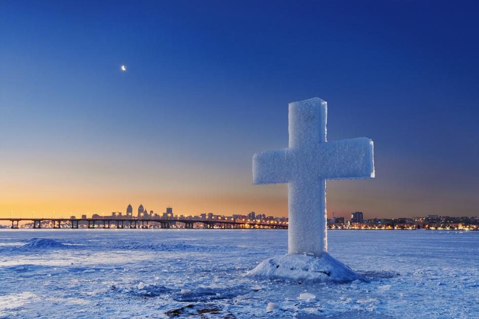 Ice Cross On Frozen River