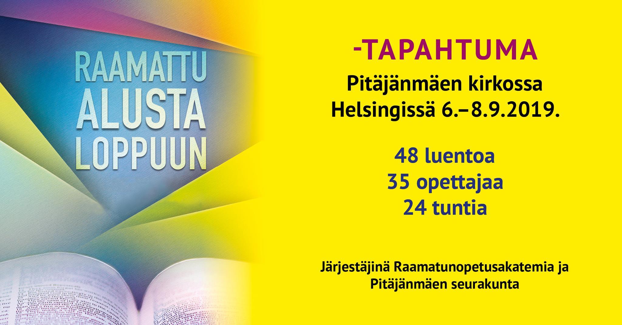 Raamattu Alusta Loppuun -tapahtuma 6.-8.9. Helsingissä